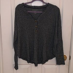 Cozy grey button sweater